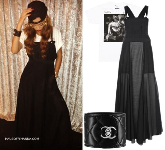 Rihannai n black Rihanna for River Island sheer overall dress, Pyrex Vision Religion t-shirt and Chanel black leather cuff with turnlock CC logo