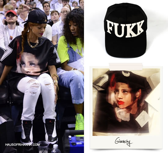 Rihanna in custom Givenchy shirt, +Fresh.I.Am+ Fukk snapback cap, Air Jordan Retro 12 sneakers