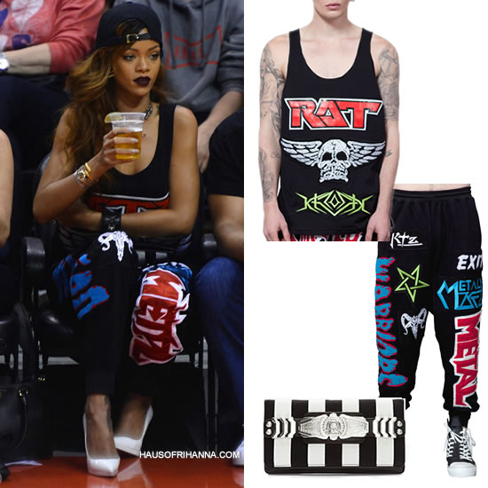 Rihanna in Kokon To Zai KTZ embroidered vest and jogging trousers, Christian Louboutin Pigalle Plato pumps, Just Don M&N Chicago cap, Balmain striped clutch