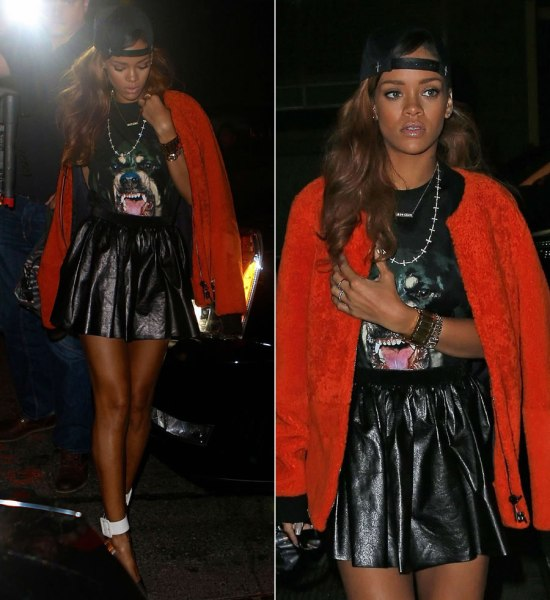 Rihanna in Jennifer Meyer Gran Gran custom nameplate necklace, Saint Laurent Paris Escarpin pumps, Phillip Lim orange shearling bomber jacket, Givenchy rottweiler shirt, fresh.i.am fukk hat