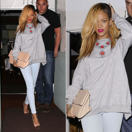 Rihanna in Prada crystal and resin rose necklace, J Brand skinny jeans, Christian Louboutin Duvette pumps, Celine oversized clutch