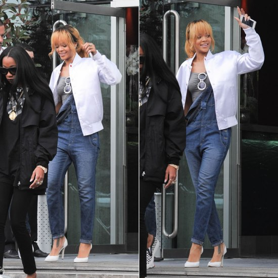 Rihanna in Big Star 1974 denim overalls, Manolo Blahnik Tayler pumps, Rihanna for River Island Bardot crop top, Chanel vintage white sunglasses, Trapstar Irongate jacket in White
