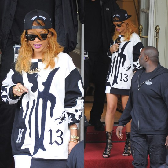 Rihanna in Trapstar x 40oz Van snapback cap, Kokon To Zai fall/winter 2013 black and white shirt, Brian Atwood Isabeli gladiator boots, Mona Mara London City skyline necklace, Jennifer Fisher Jewelry