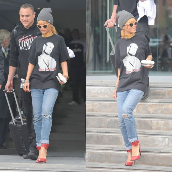 Rihanna in Balmain Homme distressed jeans, Versace VE4253 cat-eye sunglasses, Saint Laurent ankle cuff pumps