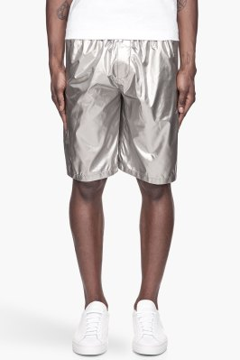 Lanvin metallic silver shorts