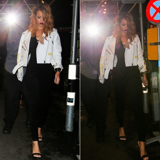 Rihanna in Acne Road Petite white leather motorcyle jacket, Rihanna for River Island barely there sandals