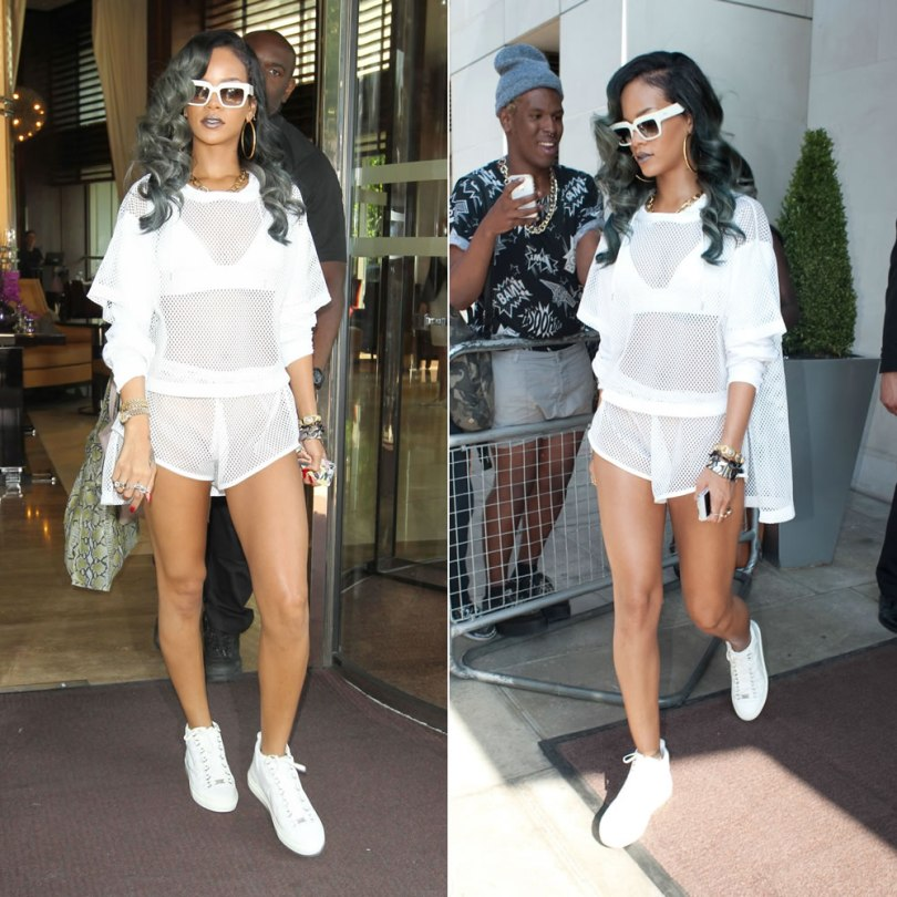 Rihanna in London wearing Adam Selman white mesh outfit, Balenciaga white arena high sneakers, Prada white Poeme sunglasses, Fallon spike rings and core hoop earrings, Lynn Ban cross charm bracelet
