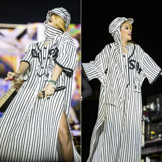 Rihanna in KTZ Kokon To Zai Spring/Summer 2014 striped baseball shirt/dress and Nike Air Force 1 mid white on white sneakers
