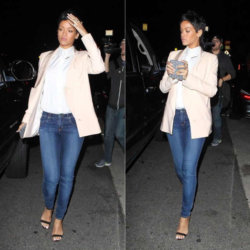 Rihanna in Givenchy Spring/Summer 2012 pink jacket and Manolo Blahnik suede Chaos sandals