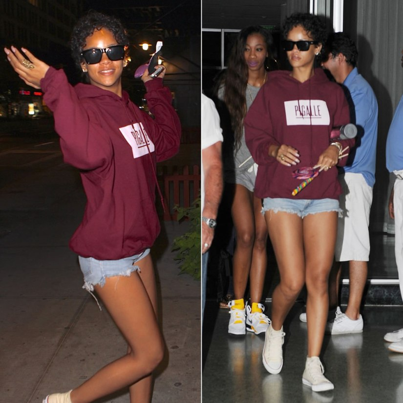 Rihanna wearing Pigalle oxblood hooded sweatshirt, Converse high-top sneakers