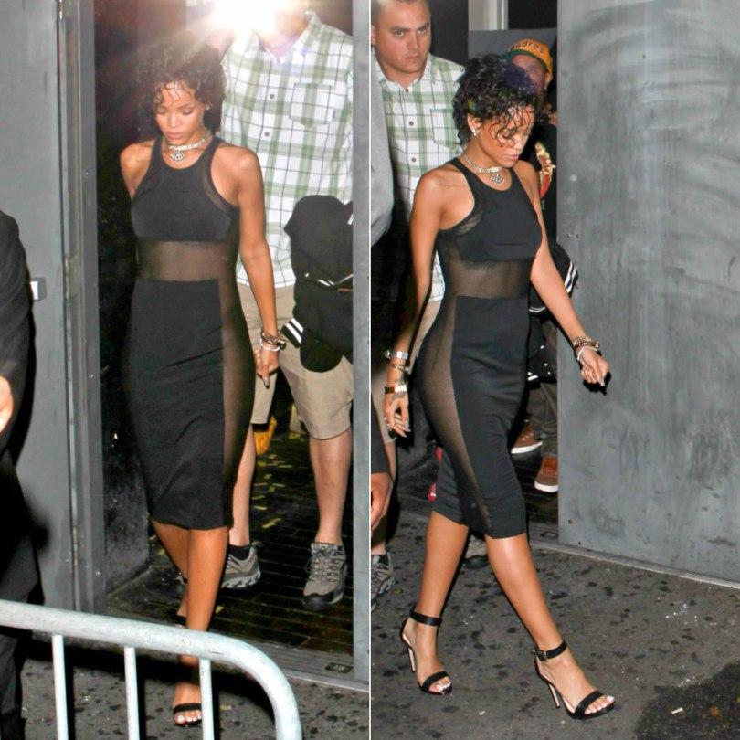 Rihanna in T by Alexander Wang Mesh Combo Midi Tank Dress and Rihanna for River Island barely there stiletto sandals