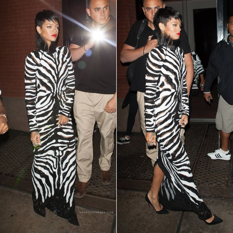 Rihanna on set with A$AP Rocky wearing a Tom Ford Fall/Winter 2013 black and white dress, Christian Louboutin suede Pigalle pumps and Loree Rodkin snake bondage ring