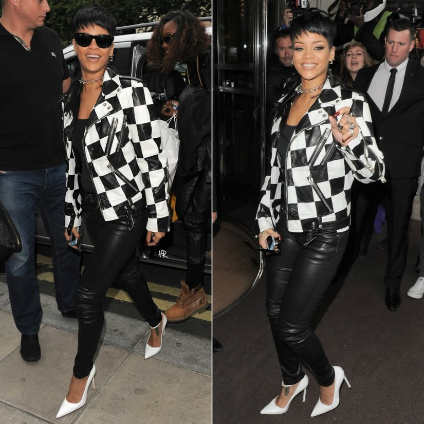 Rihanna wearing Saint Laurent checkered leather jacket, skinny leather pants and Manolo Blahnik ankle strap BB pumps