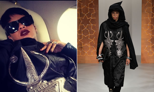 Rihanna in KTZ Spring/Summer 2014 menswear jacket