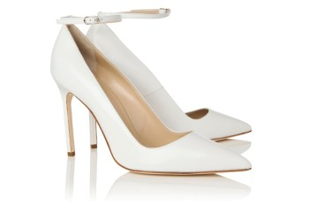 Manolo Blahnik white ankle-strap BB pumps