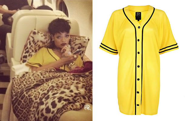 Rihanna wearing Rihanna for River Island yellow mesh G4Life shirt dress