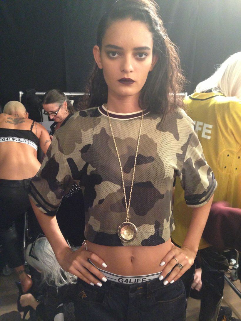 Backstage Rihanna for River Island Fall 2013 launch with Sophy Robson