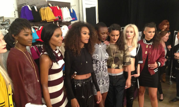 Models behind the scenes at Rihanna for River Island Fall/Winter 2013 launch party