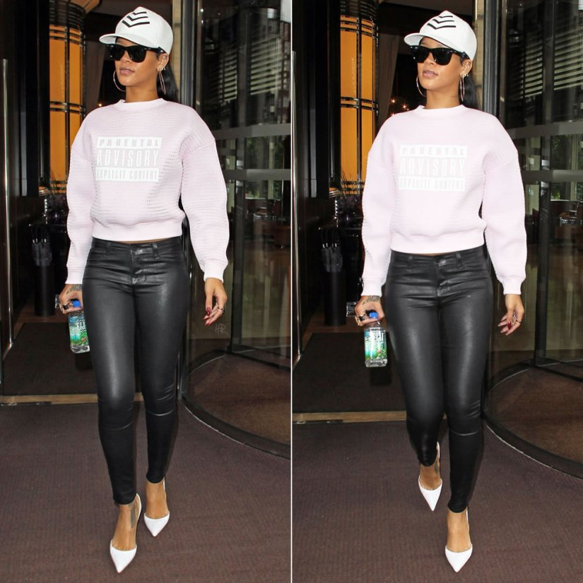 Rihanna in Alexander Wang Spring/Summer 2014 Parental Advisory sweater, J Brand black coated skinny jeans, Manolo Blahnik white Tayler pumps