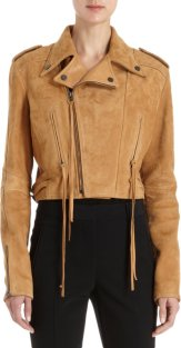 Holmes & Yang leather cropped moto jacket