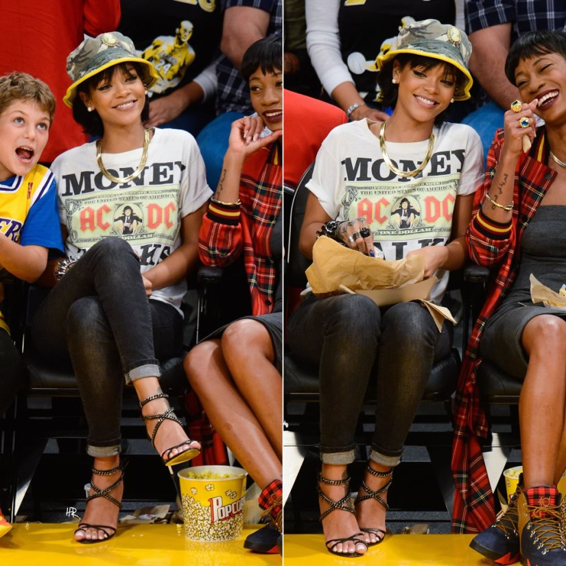 Rihanna at the Lakers game in AC/DC money talks t-shirt, Silver Spoon Attire camo cameo bucket hat, Rihanna for River Island black wash skinny jeans, Olcay Gulsen chain sandals, Lynn Ban serpent coil rings