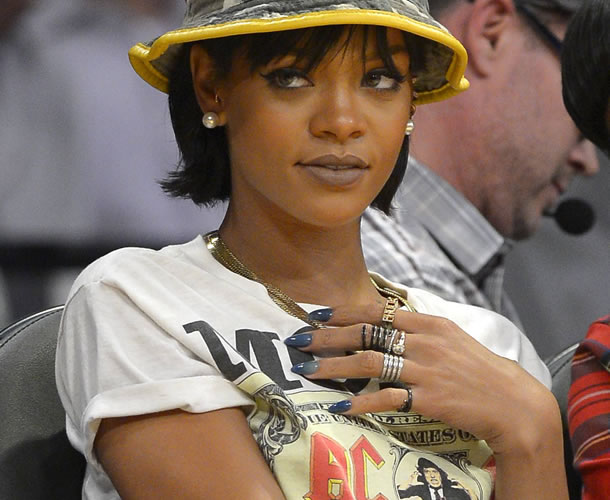 Rihanna wearing Gel II Reaction Remix gel polish in Aloha Bay Bay