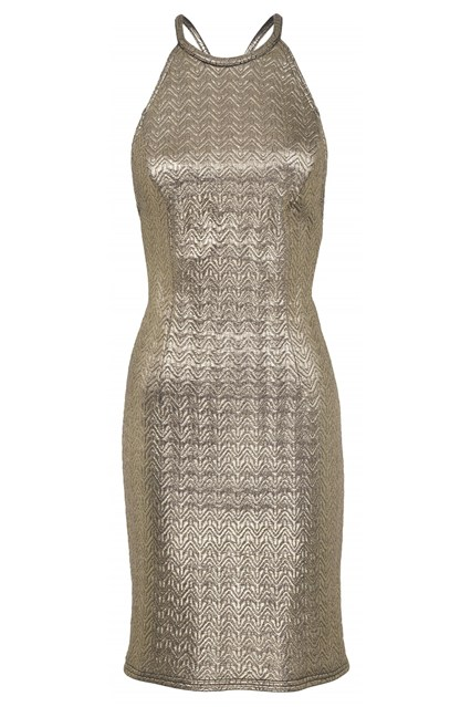 Rihanna for River Island embossed gold mini dress