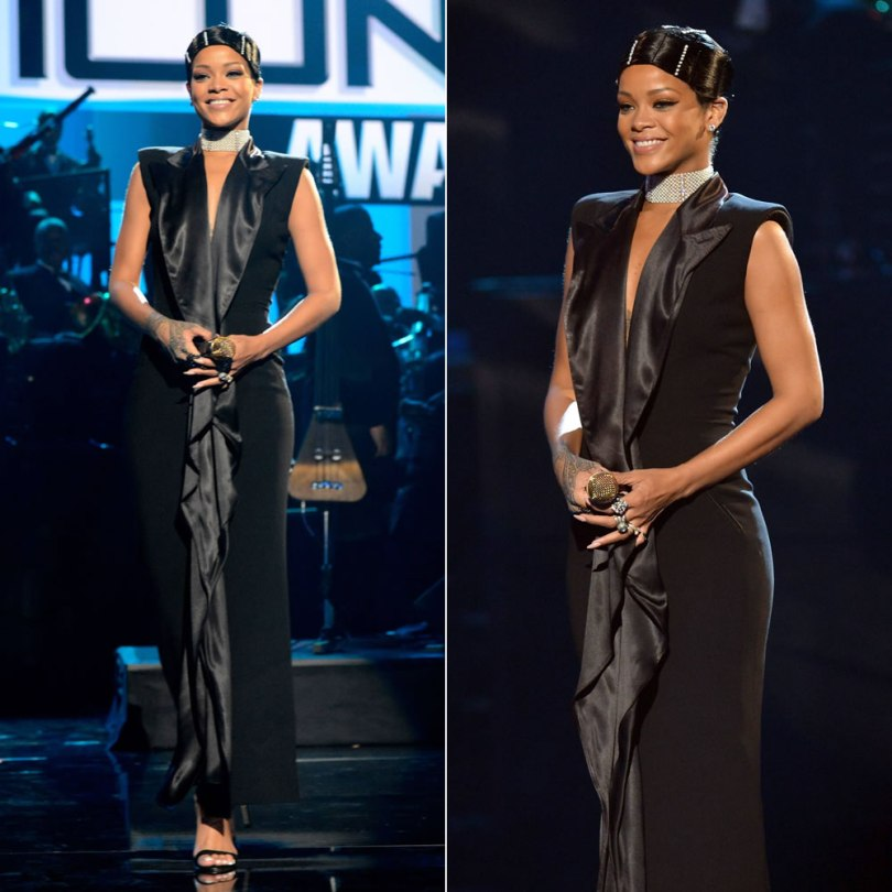 Rihanna at the 2013 American Music Awards wearing Jean Paul Gaultier Spring 2001 couture dress