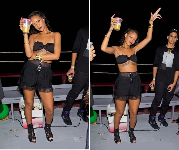 Rihanna at Scandal 2 cruise in Barbados wearing Alexander Wang sheer lace shorts and Rihanna for River Island cut out boots