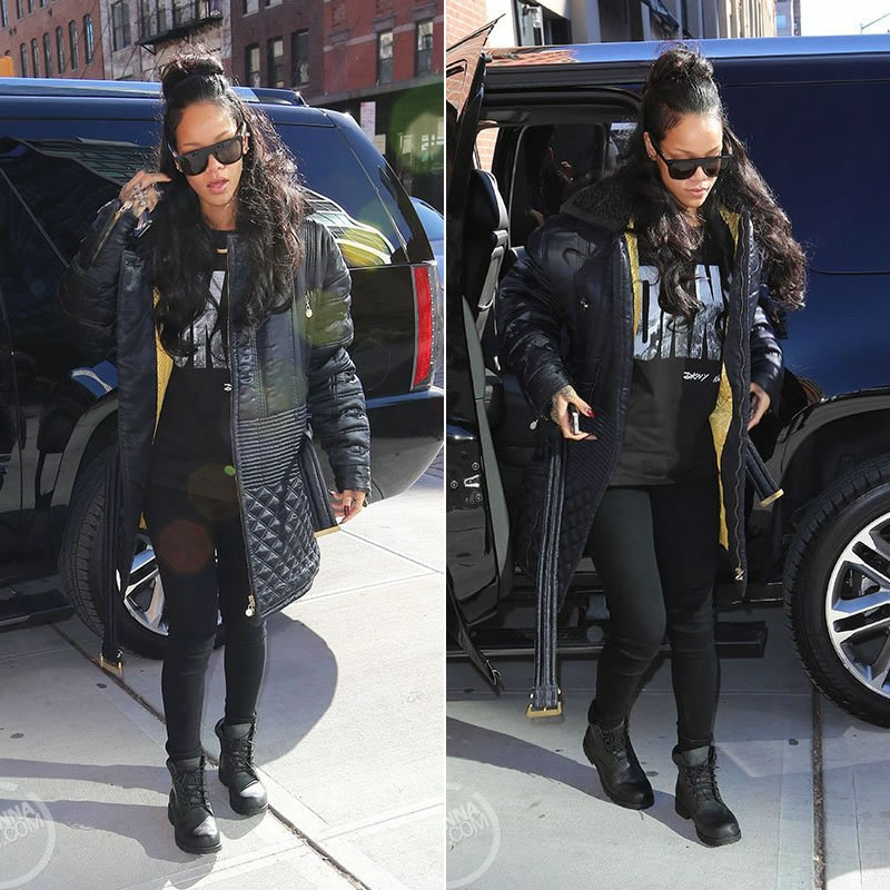 Rihanna wearing DKNY for Opening Ceremony Spring 92 Soho Wall t-shirt, Timberland earthkeepers rugged boots in Black Roughcut, Super Capo Gianni flat top sunglasses