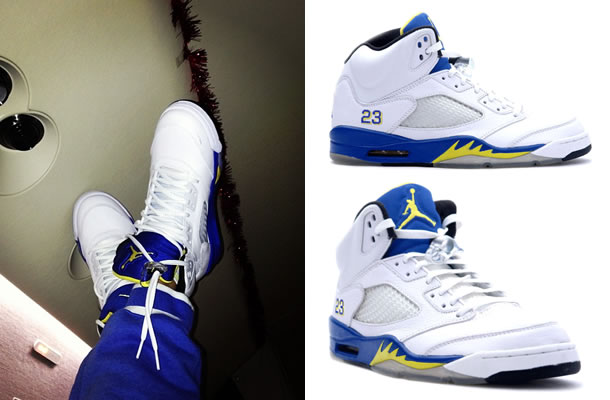 Rihanna in Air Jordan Retro 5 Laney sneakers