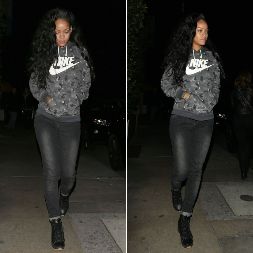 Rihanna in Nike grey camo hoodie, Rihanna for River Island dark wash skinny jeans, adidas by Opening Ceremony honey wedge sneakers