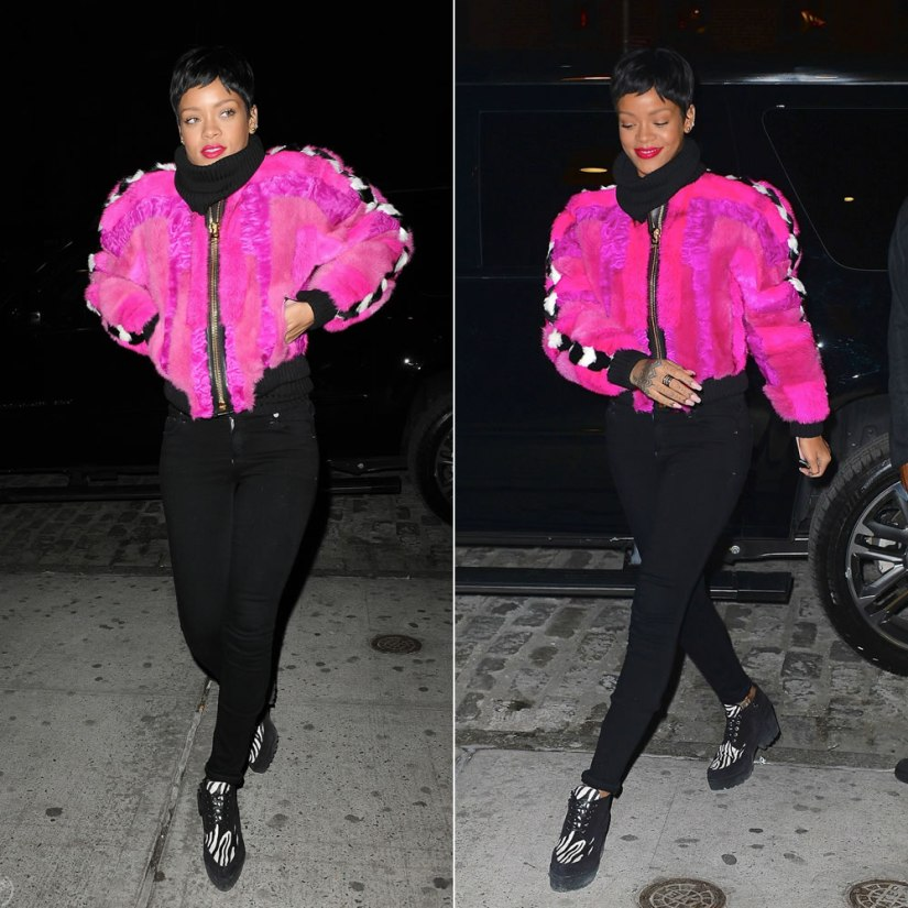 Rihanna in Tom Ford Fall 2013 pink fur jacket, Citizens of Humanity Avedon Axel skinny jeans, Miu Miu pony hair zebra print shoes