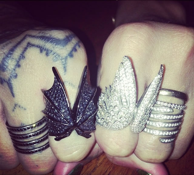 Rihanna wearing Jason of Beverly Hills Double Angel Wing Ring and Bat Wing ring