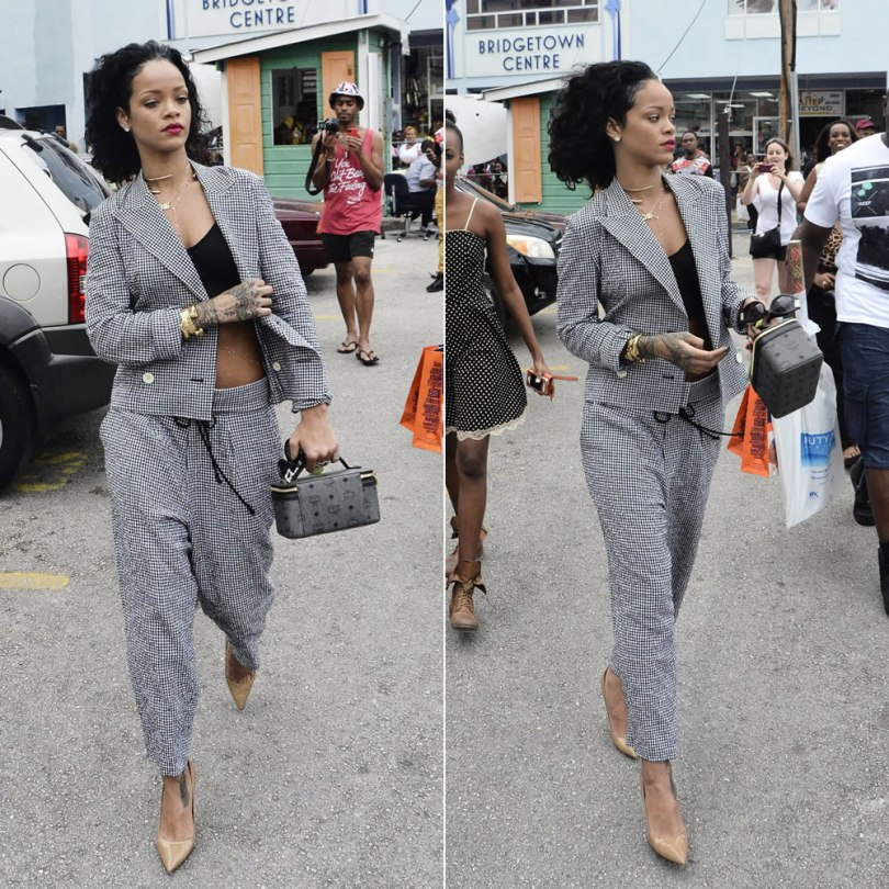 Rihanna wearing Yohji Yamamoto gingham jacket and pants, Jean Paul Gaultier sunglasses, MCM cosmetics bag, Manolo Blahnik pumps, Jacquie Aiche body chain, Jennifer Fisher jewelry, Mala by Patty Rodriguez necklace