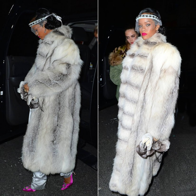 Rihanna wearing Silver Spoon Attire grey crystal headband, Manolo Blahnik pink Hangisi pumps and Chanel fur clutch