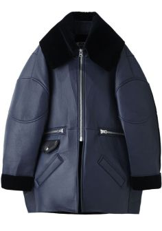 Acne oversized blue leather and velvet jacket