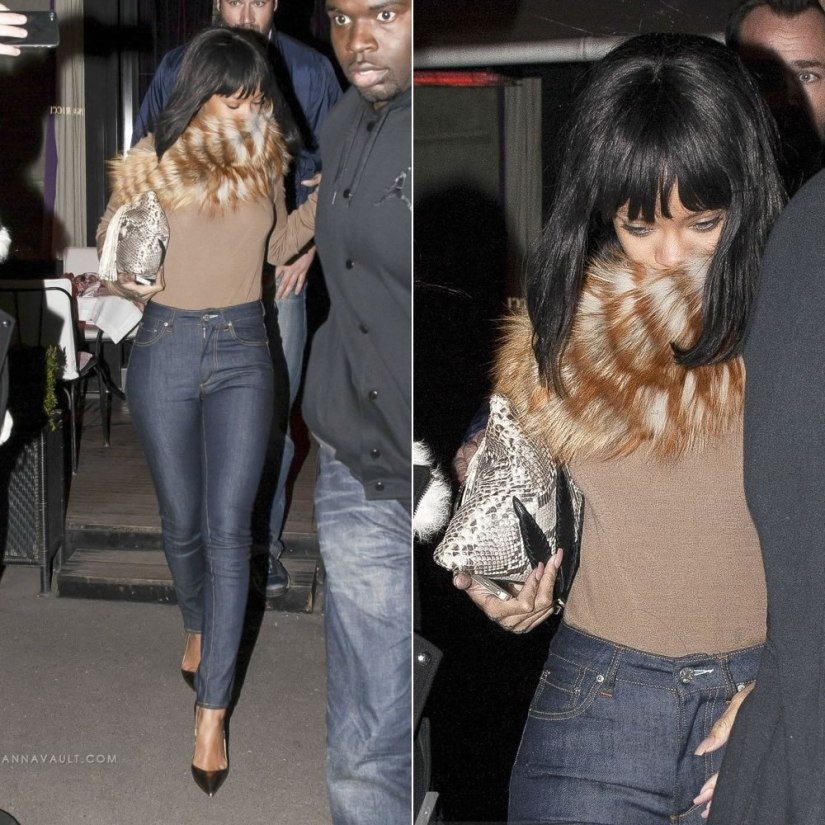 Rihanan wearing Acne Needle raw high waist jeans, Christian Louboutin So Kate gold pumps, Jacquie Aiche natural python Sweet Leaf clutch