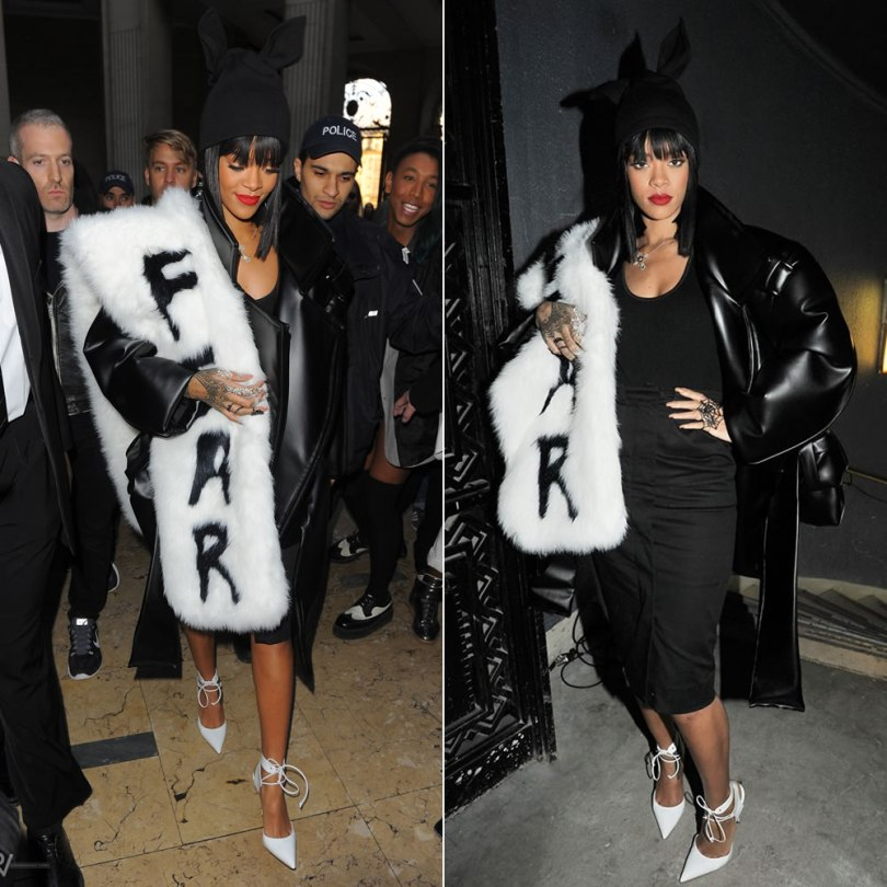 Rihanna wearing Melitta Baumeister black jacket, Hyein Seo Fear fur stole, Adam Selman Fall 2014 bunny ears hat, pencil skirt and bodysuit, Elise Dray spider web ring, floral double ring, cross necklace
