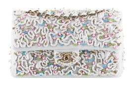Chanel - embroidered flap bag with pearls