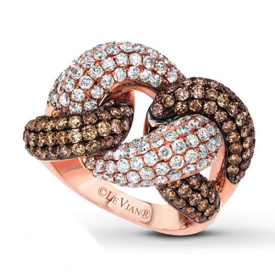 Le Vian Link'ing chocolate and white diamond ring as seen on Rihanna