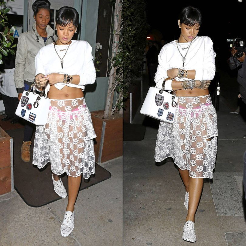 Rihanna wearing Simone Rocha transparent floral skirt, Givenchy macrame lace oxfords, Dior Lady Dior patch handbag, Delfina Delettrez eye and pearl earring, Jennifer Fisher Momma cuff, Eddie Borgo Aerator cone ring, open cuff, spire line bracelets