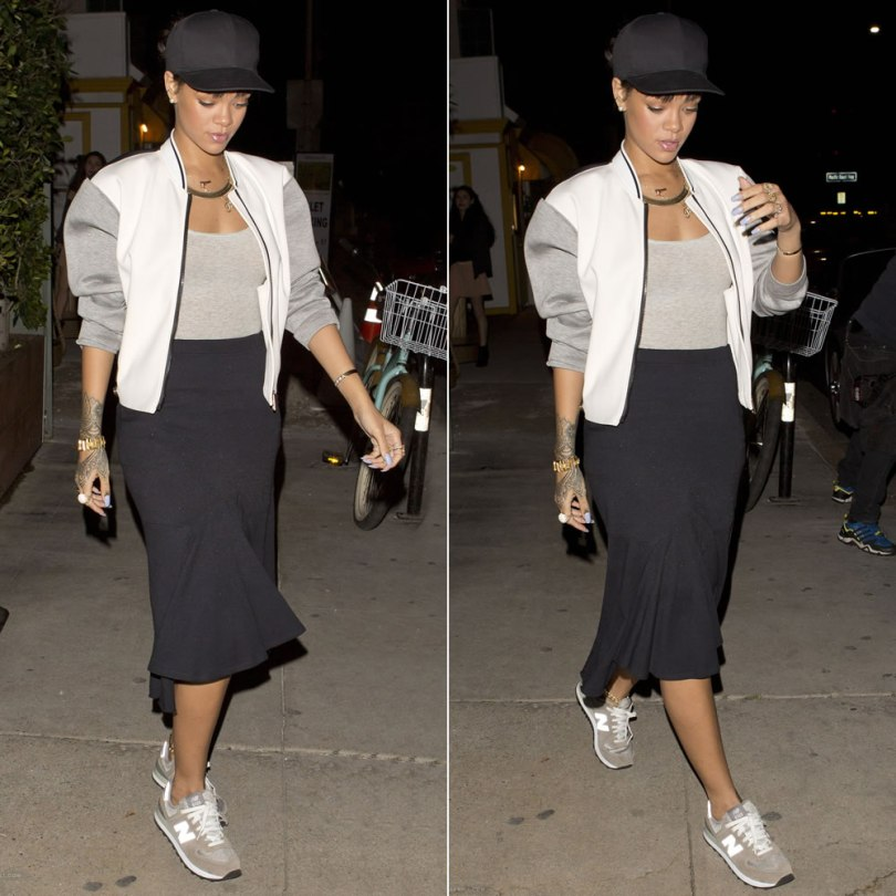 Rihanna wearing Fay colour block bomber jacket, New Balance 574 sneakers, Eddie Borgo spire line bracelet, Lynn Ban crystal ball ring, Fallon herringbone necklace, Campise gun necklace, Jennifer Fisher momma cuff, Sabine G ring