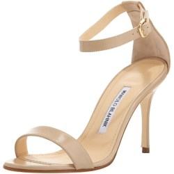 Manolo Blahnik Chaos sandals in nude as seen on Rihanna