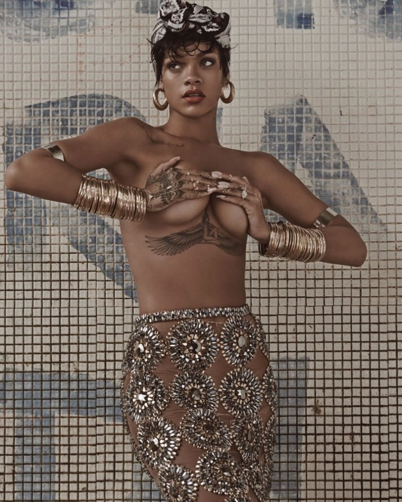 Rihanna in Vogue Brazil May 2014 wearing Hermes scarf, Burberry Prorsum embellished pencil skirt