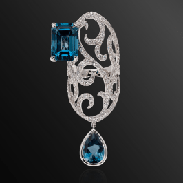 Dionea Orcini Jaipur white diamond and topaz ring