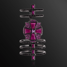 Dionea Orcini Linee Misteriose double cage ring with pink sapphires and rubies