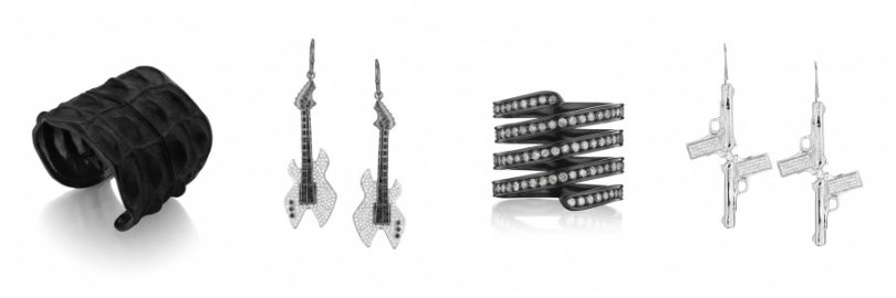 Lynn Ban crocodile cuff, guitar earrings, coil ring and gun earrings