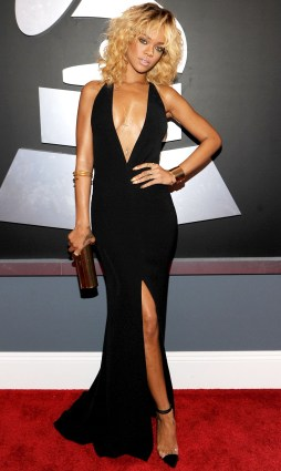 Rihanna wearing custom Armani dress at the 2012 Grammy Awards