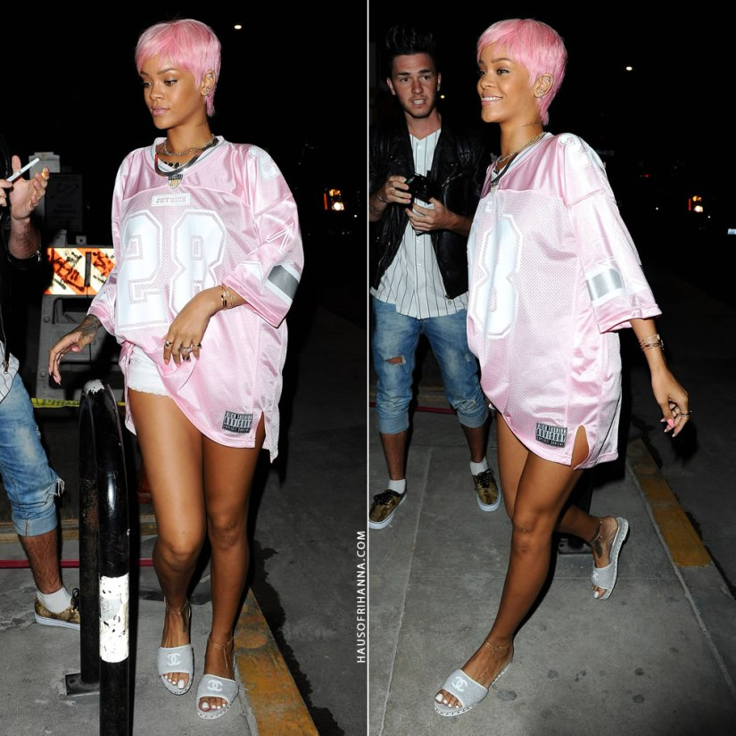 Rihanna in Joyrich Paris 28 Athletic Big pink tee, Chanel grey slide sandals, Fallon herringbone necklace, Jacquie Aiche gemstone necklace, rings and diamond anklets